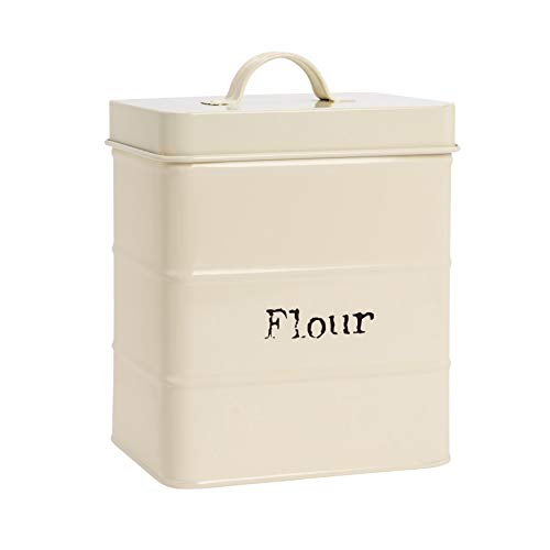 Metal Kitchen Flour Canister Bin / Holder - 160x105x180mm - Cream