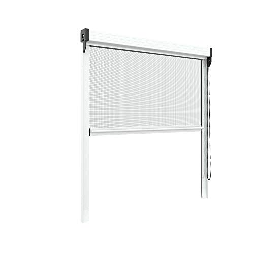 Zanzariera verticale 50 mm per finestre su misura personalizzabile a rullo con catena telaio con profilo robusto e resistente in alluminio Bianco
