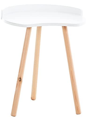 CLP Beistelltisch Jannis I Beine Aus Buchenholz I Beistelltisch Im Skandi-Look I Kleiner Couchtisch, Farbe:weiß
