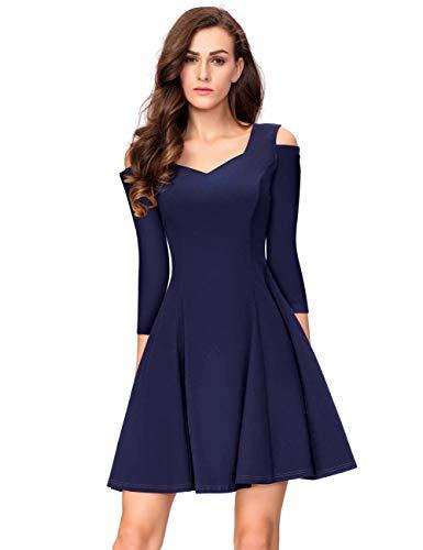 KOJOOIN Damen Vintage 50er Cocktailkleid Abendkleider V-Ausschnitt Ballkleid Knielang Kurzes Brautjungfernkleid Dunkelblau (Langarm) 【EU 42-44】/L