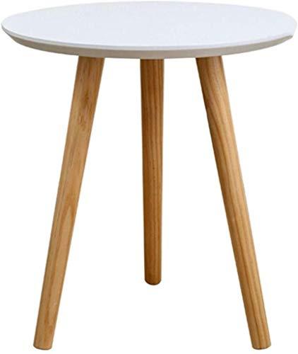 Yxsd - Pequeña mesa de café de madera, redonda, diseño minimalista, color blanco, 50 x 51,5 cm