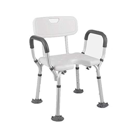 Tellgoy-Chair Silla de Ducha con apoyabrazos, Asiento para la Ducha Respaldo cómodo, Presidente de bañera de Altura Ajustable de Aluminio Material Aleación para Personas Mayores o discapacitados,B