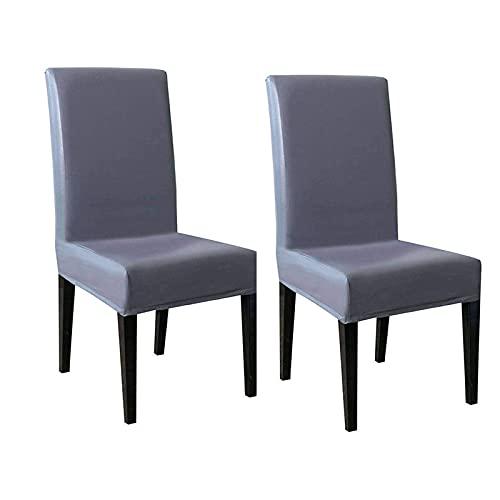 wasserdichte Stuhlhussen, PU-Leder Stretch Möbelschutz Universal Modern Durable Stuhlhussen für Esszimmer Hotel Küche Restaurant 2er Set grau