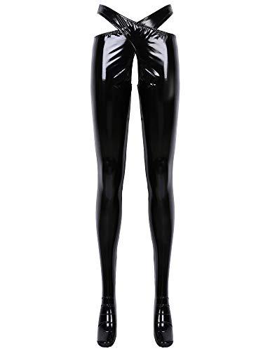 renvena Damen Wetlook Leggings Lederhose Glänzend Ouvert-Hose Stretch PU Leder Lange Pants Strumpfhose Dessous Reizwäsche Clubwear Schwarz Schwarz L