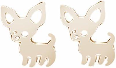 Chengxun Cute Chihuahua Stud Earrings Gold