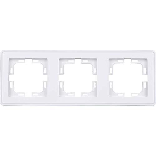 HEITECH 3fach Schalter & Steckdose Abdeckrahmen - 3er Rahmen in weiß für senkrechte & waagerechte Unterputz Installation - Dreierrahmen Abdeckung, Steckdosenrahmen, Steckdosenblende, Schalterrahmen