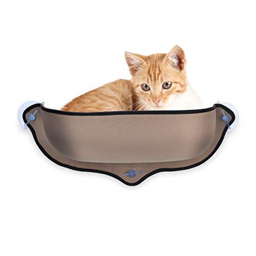 DEWEL ハンモック 猫 窓 吸盤 猫窓枠座り台 ウィンドウベッド 耐荷重13kg マット付き 日向ぼっこ ペットベッド 取り付け簡単 (1)