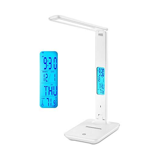 Schreibtischlampe LED,LAOPAO 1200mAh Wiederaufladbar Touch Control Tischlampe mit 3 Farb und 3 Helligkeitsstufen,Zeit, Temperatur, Uhr, Memory-Funktion für Lesen, Büro und Kinderzimmer