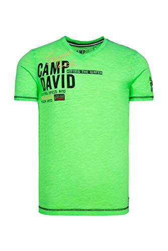 Camp David Herren T-Shirt mit V-Neck und Rücken-Print