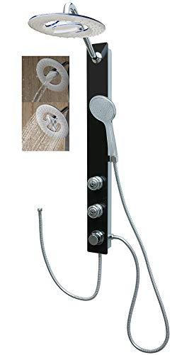 Glas Duschpaneel Schwarz Duschsystem Regendusche mit 2 Massagedüsen für die Wandmontage
