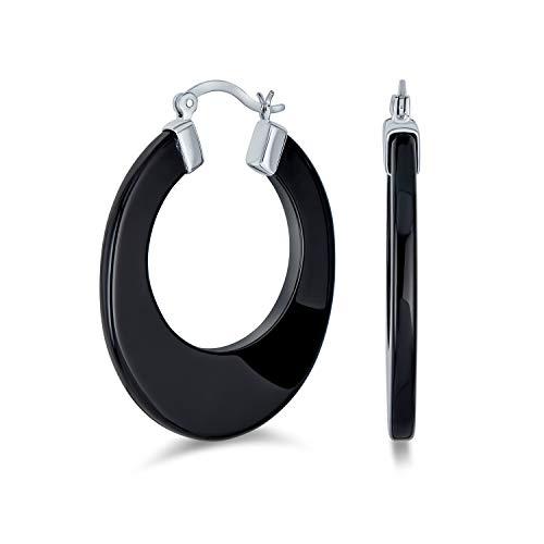 Ancho y plano geométrico minimalista Black Onyx Hoop Pendientes grande 1 Sterling Silver