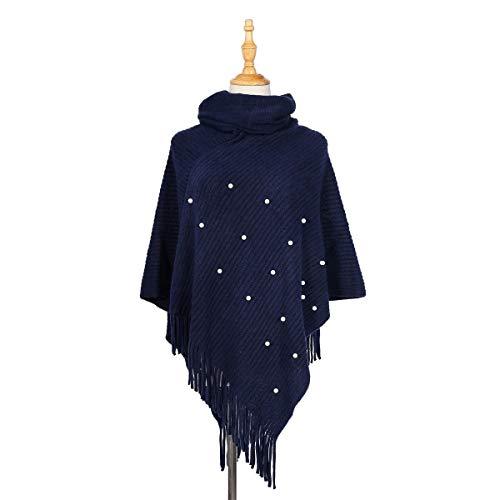 Alvnd Fashion elegante parel kwast trui hoge kraag warme sjaal met franje Hem, Gehaakte Poncho Breipatronen voor Vrouwen 80-100cm Colour 4