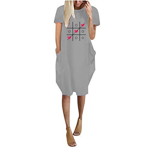 Kobay-Damen Bequem und Atmungsaktiv Drees Liebe Drucken Casual Pocket Kurzarm Kurzarm Kleid Geschenke für Frauen