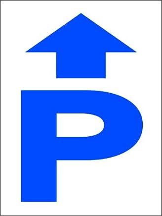 シンプル看板 「P(直進)」Mサイズ パーキング 駐車場 屋外可(約H45cmxW60cm)