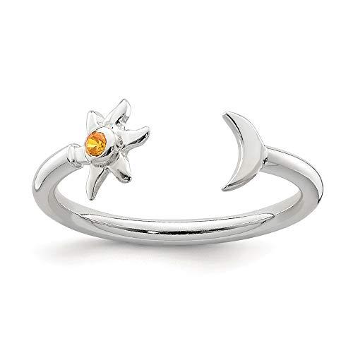 Hermoso anillo de plata de ley 925 pulida con media luna y sol naranja CZ ajustable viene con una joyería de regalo gratis