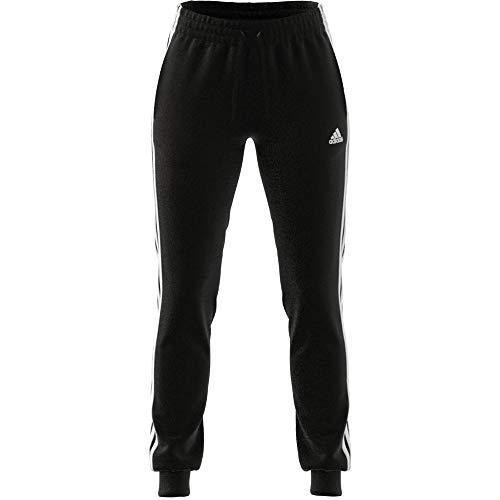 adidas Essentials Slim Tapered Cuffed, Pantaloni della Tuta Donna, Nero Bianco, XS
