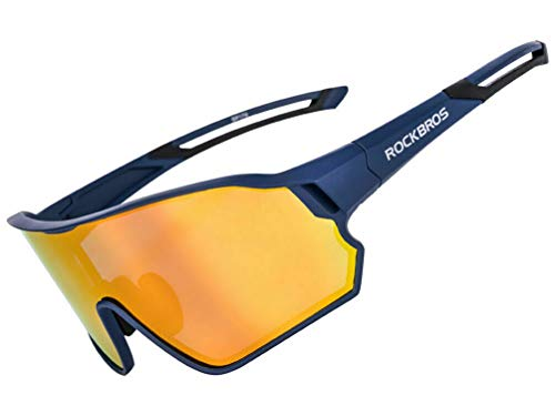 ROCKBROS Fahrradbrille Herren Polarisierte Sonnenbrille Sportbrille mit UV400-Schutz TR90-Rahmen für Outdoor-Sport Radfahren Laufen Klettern Angeln Golf