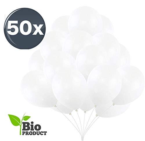 TK Gruppe Timo Klingler 50x Luftballons weiß Ø 35 cm - Helium geeignet - Kein Plastik -100 % Bio & recyclebar - Deko Dekoration zur Befüllung mit Ballongas (weiß)