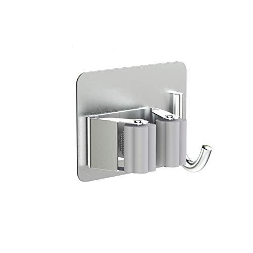guoda Salvaspazio-portascope Porta Scopa in 3 Pezzi in Acciaio Inox, Gancio per Garage, Porta Scopa A Parete Senza Foro Gancio Autoadesivo (Color : Metallic, Size : 8x6.5cm)