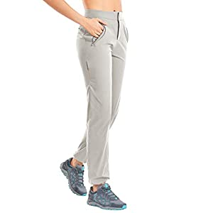 CRZ YOGA Women's Quick Dry Lightweight Hiking Pants Zip Off High Rise Stretch Casual Outdoor Pants with Zipper Pockets