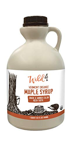 Wild4 Organic Maple Syrup, 100% Pure Maple Syrup from Vermont, Gluten Free, Grade A, Amber Color, Rich Taste - 1 Quart (32oz.)