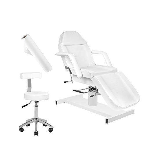 Activeshop Set Kosmetikliege Massageliege Massagetisch Massagestuhl 210 +Kosmetikhocker 304 Weiss +Vlieseline-Bezug