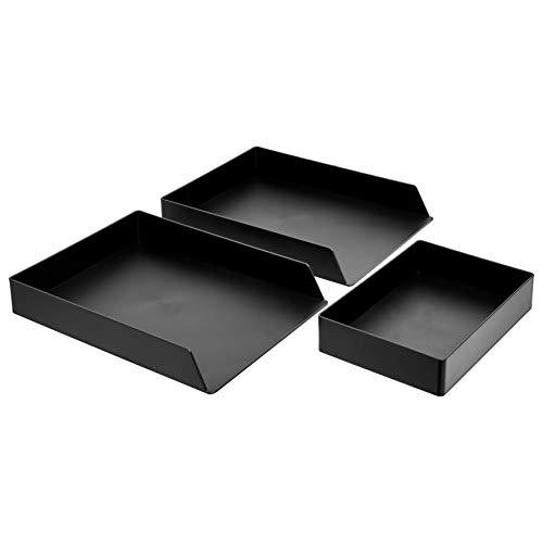 AmazonBasics Kunststoff-Organizer-Set, Briefablage (2 Stück), Zubehörablage, Schwarz