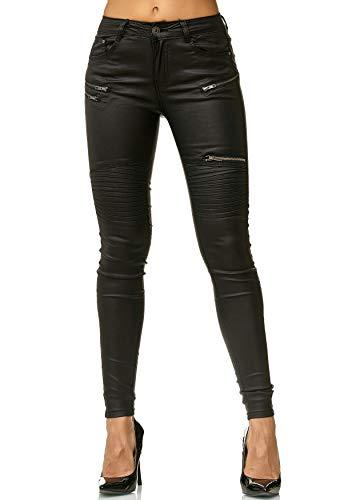 EGOMAXX Damen Hose Leder Optik Treggings Kunstleder Skinny Stretch Röhre D2562, Farben:Schwarz, Größe:36