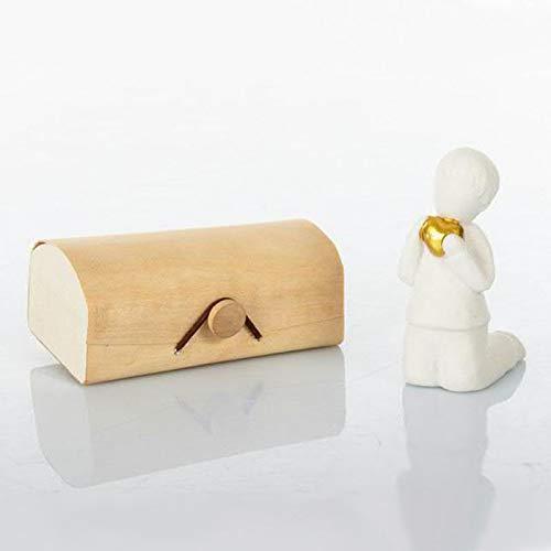 Ingrosso e Risparmio Cuorematto – Figura de niño en ginocha de cerámica blanca y corazón dorado, recuerdo de comunión solidario, con caja de regalo incluida (con caja naranja)