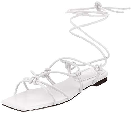 BOSS Lily Flat Sandal-N, Sandalia Mujer, Open White114, 41 EU