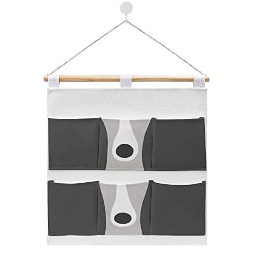 Bolsa de almacenamiento para colgar en la pared, lindo galgo italiano o Whippet perro sobre la puerta, bolsillos de almacenamiento de 6 bolsillos, organizador para el hogar para dormitorio y baño