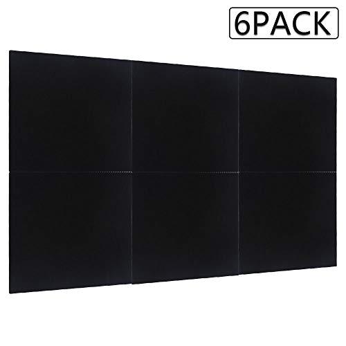 Robasiom Schalldämmung, Schalldämmung, Studio-Akustikschaumstoff, 30,5 x 30,5 x 0,9 cm, 6 Stück Schwarz
