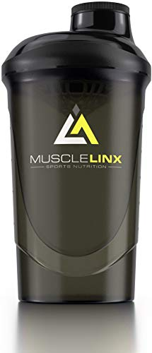 Musclelinx Sports Nutrition Protein shaker screw top 100% LEAK PROOF drinks bottle 600ml to 800ml by Musc (black/grey)