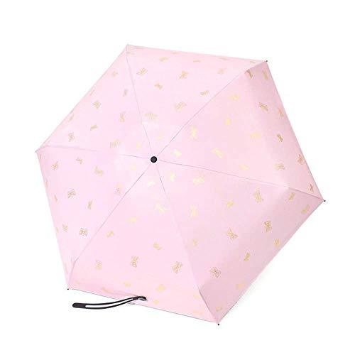 BAIYAN Paraguas, Paraguas Anti de protección contra el Sol a Prueba de Viento del Paraguas con 8 Costillas de Fibra de Vidrio Reforzada Sol a Prueba de Viento (Color: Rosa, tamaño: Gratis)