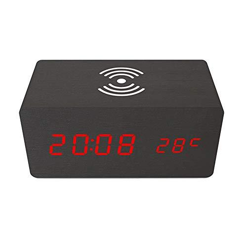 QLPXY Wiederaufladbarer Digitaler LED-Wecker Am Bett Mit Temperaturanzeige Und Kabellosem Multifunktionsladegerät Für Apple Samsung Huawei Smartphone (C)