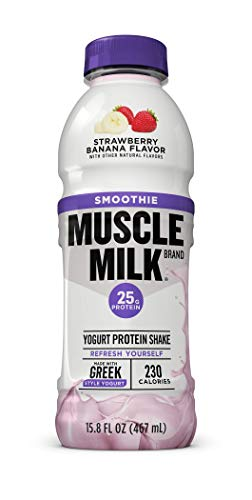 Muscle Milk Smoothie Protein Yogurt Shake, Strawberry Banana, 25g Protein, 15.8 FL OZ, 12 Count