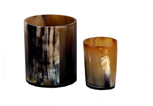 Boeddha4all Hoorn Whisky TOT Glas Nip Viking Shot Glas 4 Inch met 2 Inch Shot Whiskey Bril Premium Loodvrije Hoorn Glas