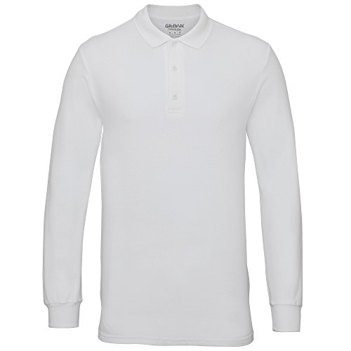 Gildan Mens Long Sleeve Double Pique Cotton Polo Shirt (M) (White)
