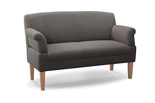 CAVADORE 2-Sitzer Küchensofa Malm, Sitzbank für Küche oder Esszimmer inkl. Armteilverstellung, Leichte Fleckentfernung dank Soft Clean, 152 x 97 x 78, Flachgewebe: grau