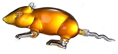 SYZHIWUJIA Decantador de Whisky de Rata, Decantador de Vidrio de Altura de 1000 ml, decantador Dispensador de Cristal Aeroador de Cristal Grabado Regalo Glass Set de Vidrio Unique Barware Licorera