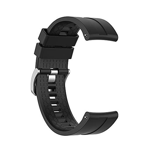 La correa de silicona deportiva es adecuada para pulseras de repuesto de relojes inteligentes como Huawei Watch GT 2 (Huawei GT 46 mm, negro)