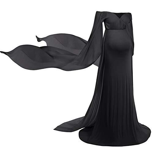 FYMNSI Vestido de maternidad para embarazadas, elegante, con hombros descubiertos, de gasa para mujer, para boda, para sesiones de fotos, ropa premamá Negro L