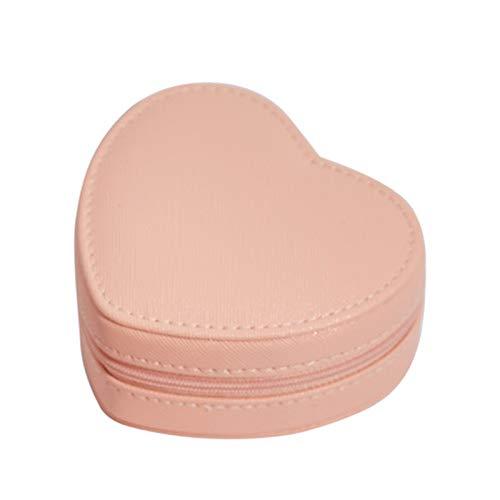 Caja de almacenamiento de joyas con diseño de corazón para pendientes, pulseras, colgantes y collares