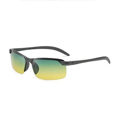 Gafas De Sol Deportivas Polarizadas, Antirreflejos Rectangulares Ligeras, Adecuadas para Montar, Conducir, Pescar, Correr En Bicicleta,Verde