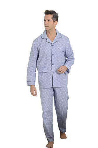 El Búho Nocturno Pijama de Caballero de Manga Larga clásico Estampado de Tela popelín de algodón para Hombre XXL Soles-Celeste