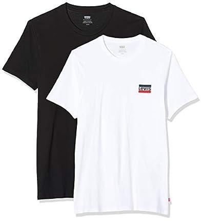 Levi's 2Pk Crewneck Graphic Camiseta, 2 Pack Sw White/Mineral Black, S para Hombre