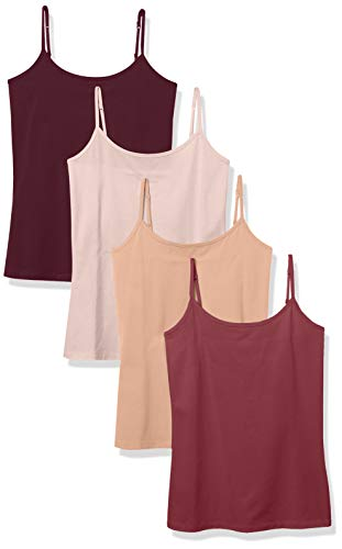 Amazon Essentials 4-Pack Camisole Tank-top-and-cami-Shirts, Burgundy/Mauve/Nude/Hellrosa, 36-38