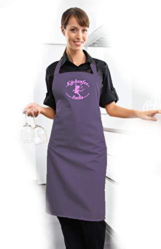 freitex Küchenfee Schürze mit Namen individuell Bedruckt (Purple)