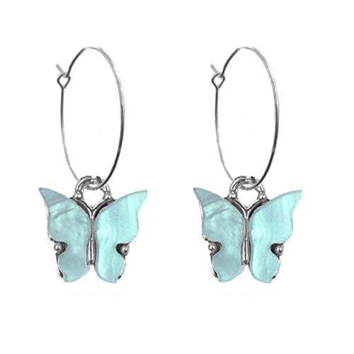 Colorful Metal Butterfly Earring Pendant Gold Silver Color Circle Hoop Earrings For Women Statement Girl Jewelry