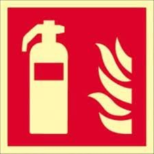 Bord brandblusser Gloria 15x15 PVC langluminescend/zelfklevend ASR1.3/ISO7010